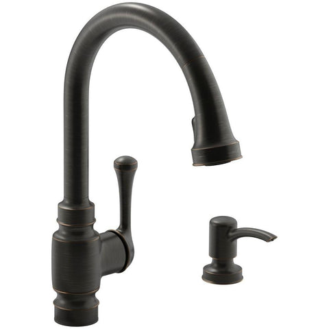 Faucet, kitchen, Carmichael Single-Handle Pull-Down Sprayer in Oil Rubbed Bronze