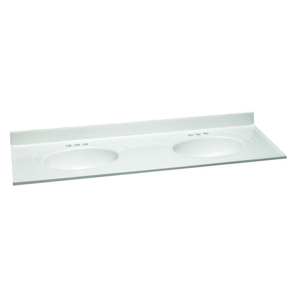 Vanity Top, 61in. W Cultured Marble with Solid White Double Bowl