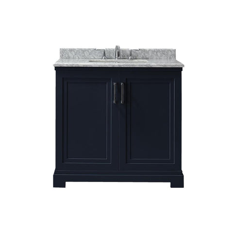 Martha Stewart Living Lynn 36 in. W x 22 in. D Vanity in Midnight Blue with Marble Vanity Top in White with White Basin SKU 770707