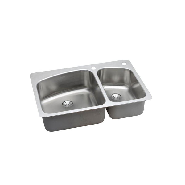 Vault Drop-in/Undermount Stainless Steel 33 in. 1-Hole Double Bowl Kitchen Sink Kit