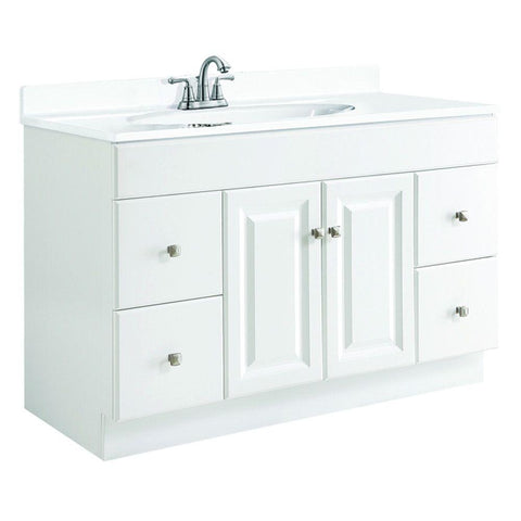 Bathroom Vanity, Wyndham 48 in. W x 21 in. D Unassembled Vanity Cabinet Only Assembled, White Semi-Gloss
