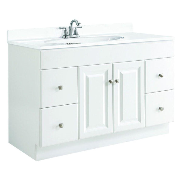 Vanity, Wyndham 48 in. W x 21 in. D Unassembled Vanity Cabinet Only Assembled, White Semi-Gloss