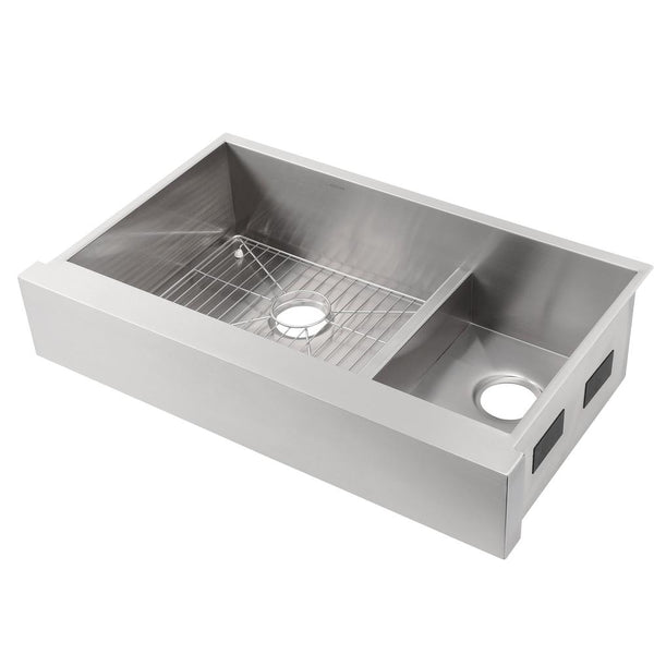 Kitchen sink stainless, Vault Smart Divide Undermount Stainless Steel 36 in. Double Basin Kitchen Sink Kit