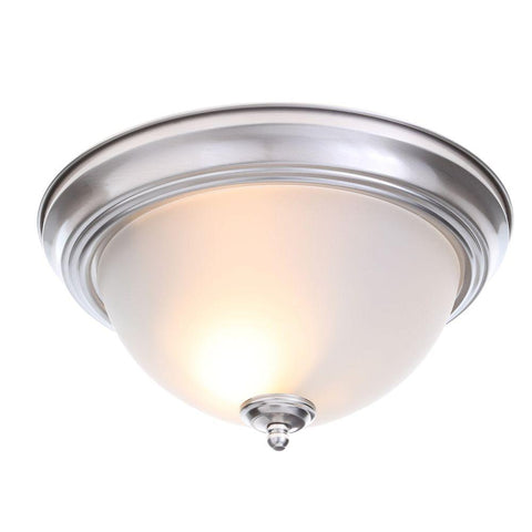 Ceiling light, 13 in. 2-Light Brushed Nickel Flush Mount with Frosted Glass Shade (2-Pack) 701 704
