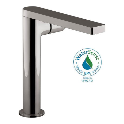 Bathtub faucet, Composed Single Hole Single-Handle Tall Vessel Bathroom Faucet with Cylindrical Handle and Drain in Titanium