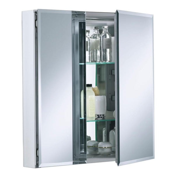 Double Door 25 in. W x 26 in. H x 5 in. D Aluminum Cabinet with Square Mirrored Door in Silver 2526FS