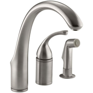 Kitchen faucet, Forte Single-Handle Standard Kitchen Faucet 10430-VS with Side Sprayer in Vibrant Stainless