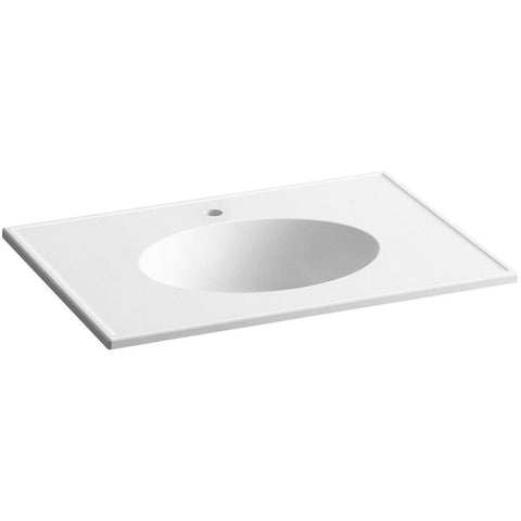 Ceramic/Impressions 31 in. Single Faucet Hole Vitreous China Vanity Top with Basin in White Impressions