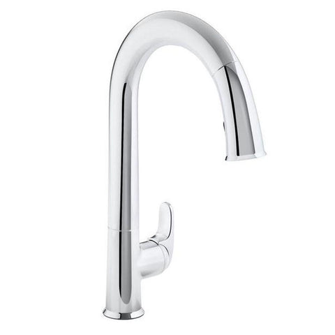 Kitchen Faucet: KOHLER  Sensate AC-Powered Touchless Kitchen Faucet in Polished Chrome with DockNetik and Sweep Spray