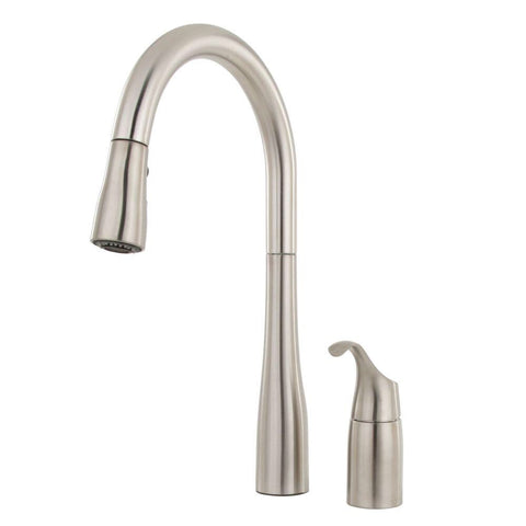 Kitchen Faucet: KOHLER  Simplice Single-Handle Pull-Down Sprayer Kitchen Faucet with DockNetik and Sweep Spray in Vibrant Stainless