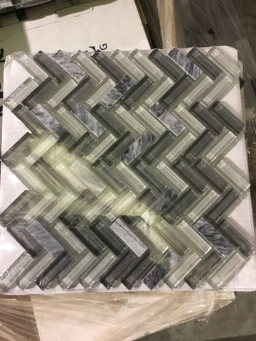 Backsplash, Glass and stone mosaic 36 squares, 12x12