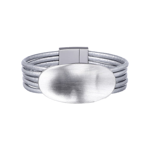 Silver Leather Bracelet With Oval Element