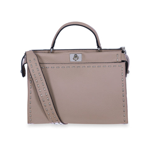 Beige Satchel Leather Handbag