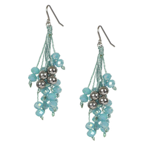 Mint Green Hook Beaded Earrings