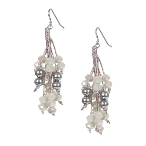 Beige Italian Beaded Earrings On A Silk Cord