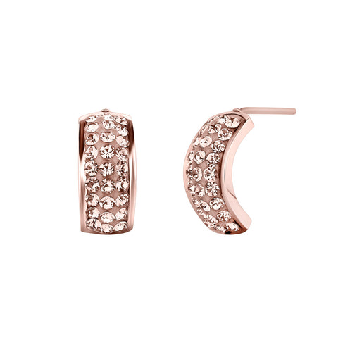 18k Gold Plated Peach Stud Earrings With Swarovski