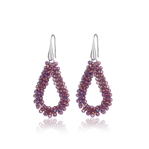 Purple Drop Earrings With Italian Beads