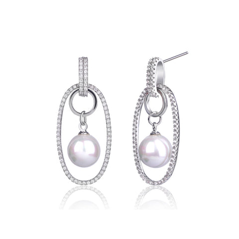 Oval Hoop Earrings With  Cultured Pearl And Swarovski