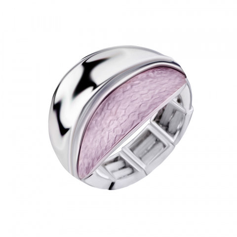 Free Size Ring With Pale Pink Enamel