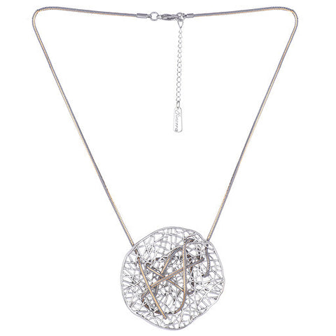 Round Geometric Net Pendant Necklace