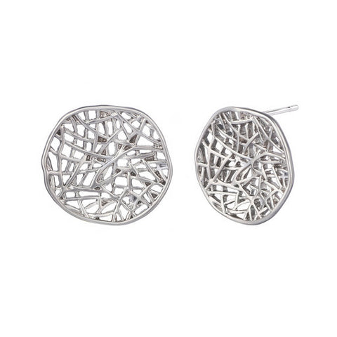 Round Geometric Net Earrings