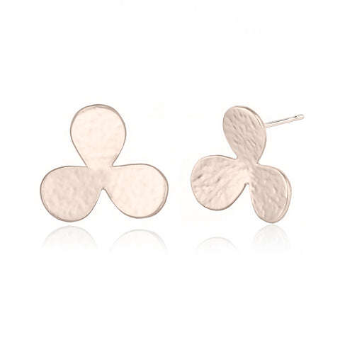 Textured Flower Light Gold Earrings