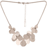 Textured Flower Motif Light Gold Necklace