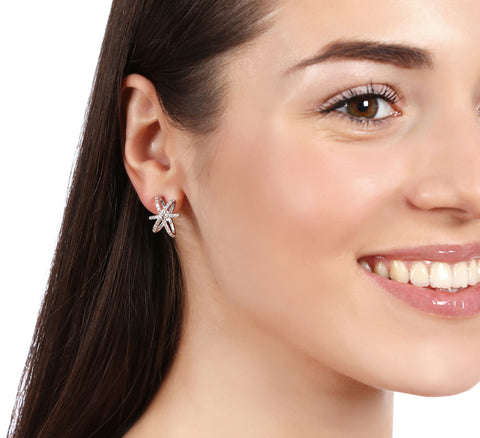 Stud Star Earrings With Swarovski Crystals