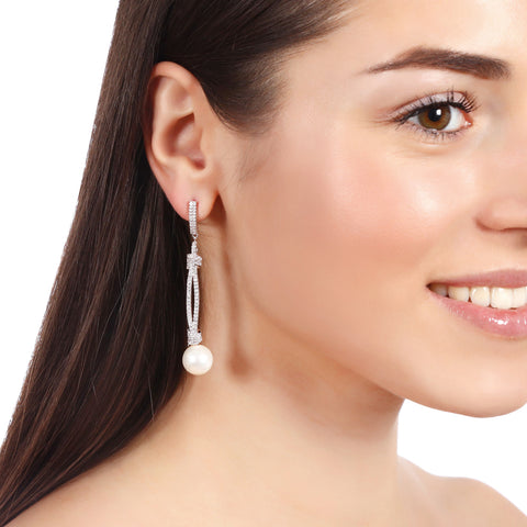 Crystal Drop Earrings With Pearl