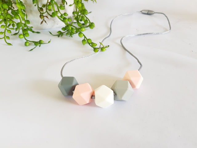 Mizzle Geo Hex Collection Necklace – Blush Pink | Mizzle Baby & Children's Clothing