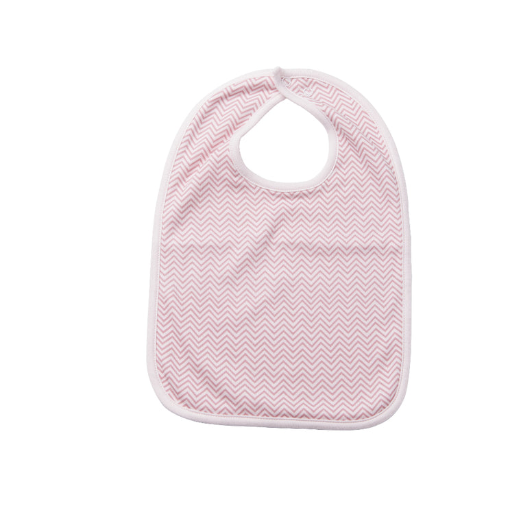 Reversible Bib - Pink Chevron / Bella Bird