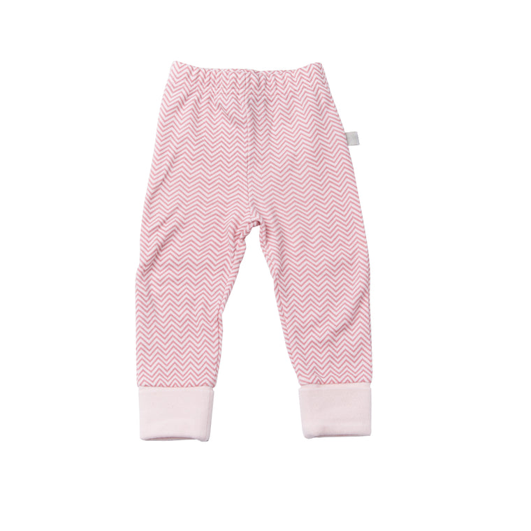 Cuffed Pants - Pink Chevron