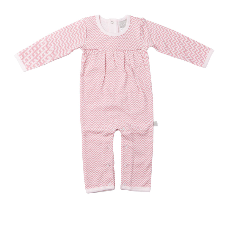 Feet Out Romper - Pink Chevron
