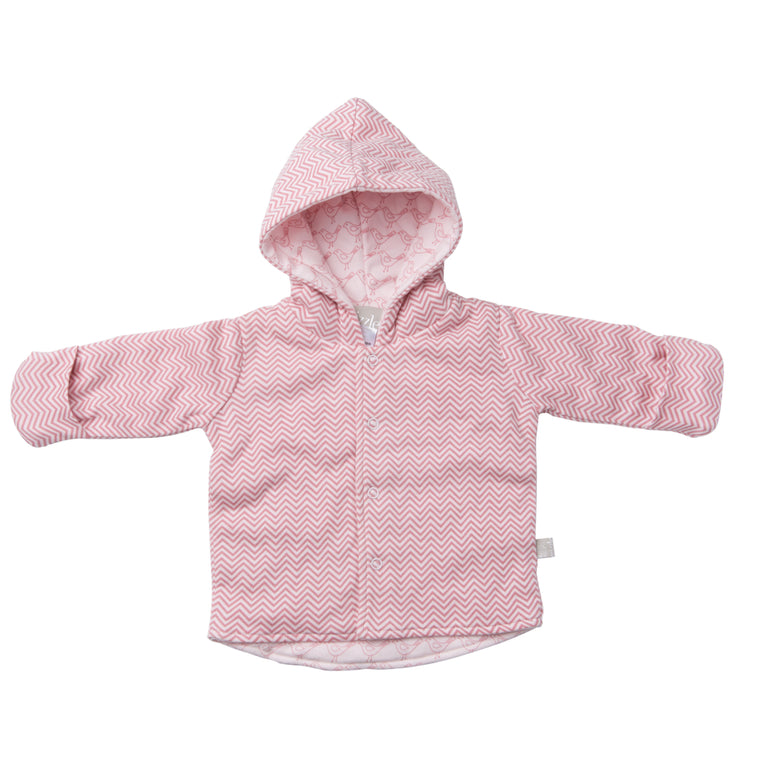 Reversible Quilted Jacket - Pink Chevron / Bella Bird