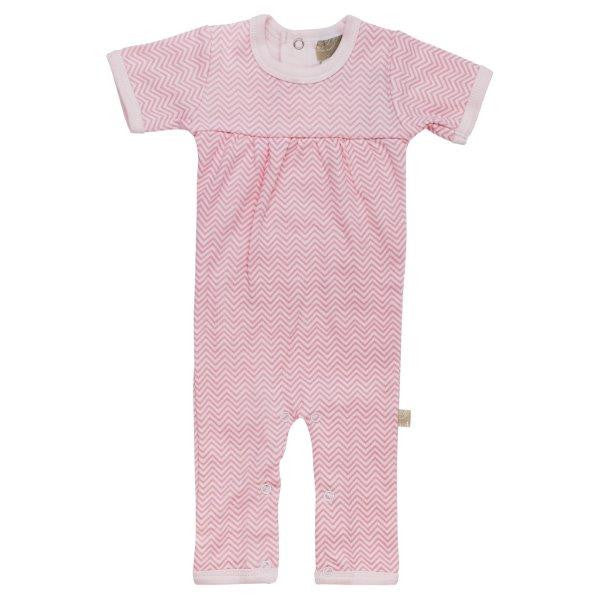Short Sleeve Romper - Pink Chevron