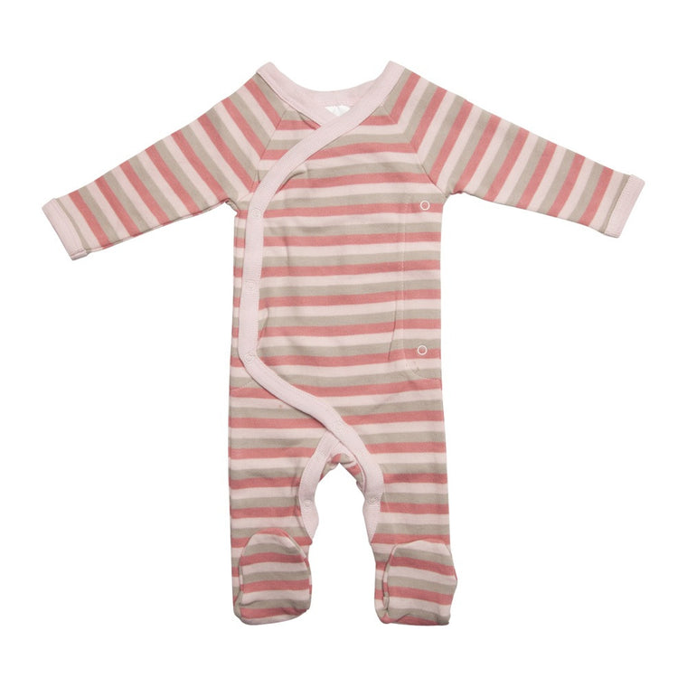 Long Wrap Romper - Pink Stripes