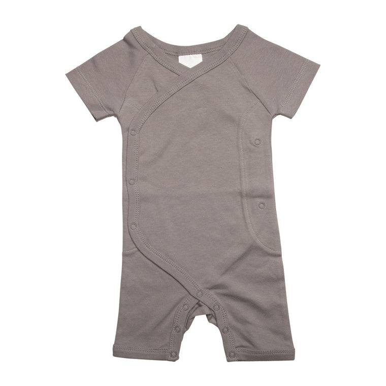 Short Wrap Romper - Soft Grey