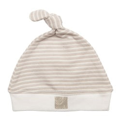 Single Knotted Hat - Neutral Stripe / White Trim