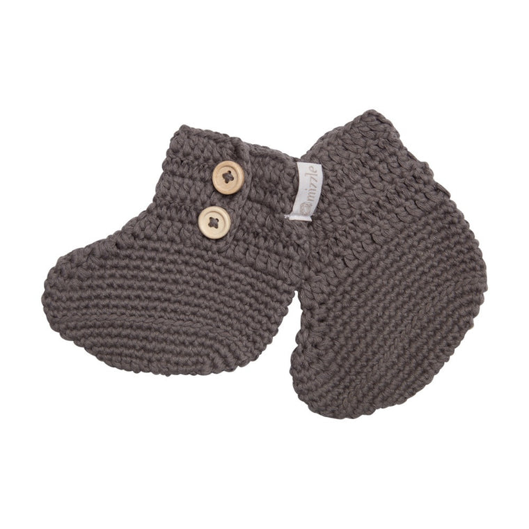 Crochet Booties - Charcoal Grey