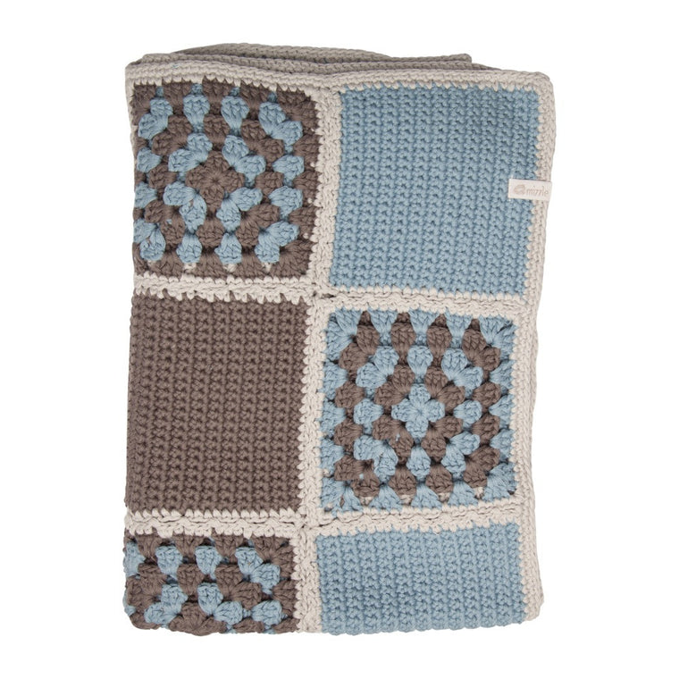 Nanna Knit Crochet Blanket - Blue