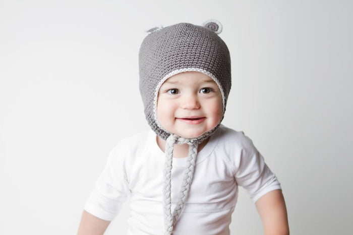Baby Bear Beanie - Charcoal Grey | Mizzle Baby & Children's Clothing