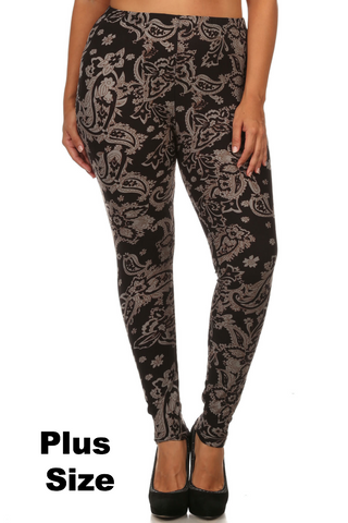 Black Paisley PLUS Leggings
