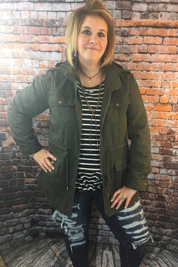 PLUS Olive Cargo Jacket - Fierce Stripe Outfit