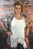 PLUS Ivory Lace Ruffle Top