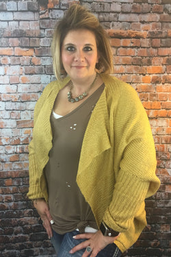 Mustard PLUS Dolman Sleeve Cardigan