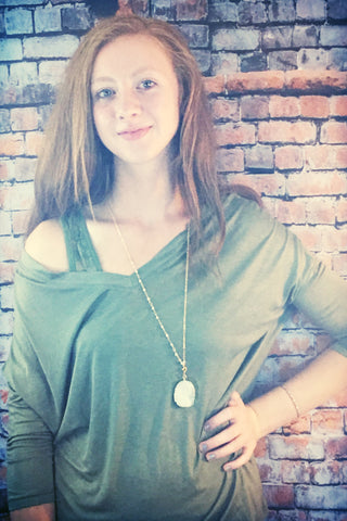 Olive Green Dolman Top