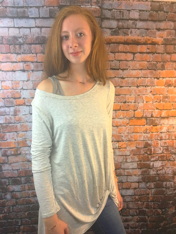 Super Comfy Heather Grey Long Sleeve Twist Hem Top