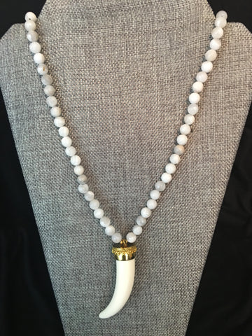 Grey Tibetan Horn Necklace