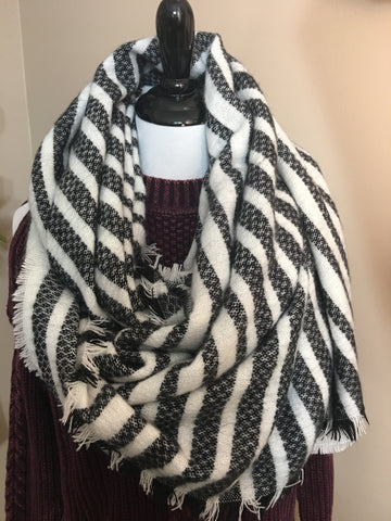 Black & White Striped Blanket Scarf