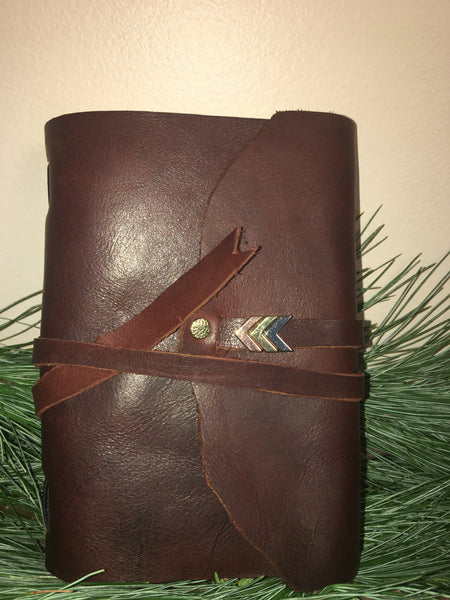 Chevron Gold/Rosegold/Silver Handmade Leather Journal - Small